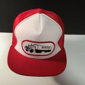 Mertens MEsh Snapback Trucker Hat Cap Red White On